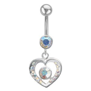 Bellypiercing Surgical Steel 316L Silver 925 Crystal Heart Love