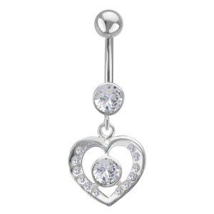 Piercing de ombligo Acero quirúrgico Plata 925 Cristal Corazón Amor