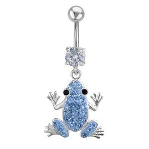 Bellypiercing Surgical Steel 316L Silver 925 Crystal Frog