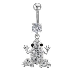 Bellypiercing Surgical Steel 316L Silver 925 Crystal Frog