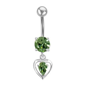 Bellypiercing Surgical Steel 316L Silver 925 zirconia Heart Love