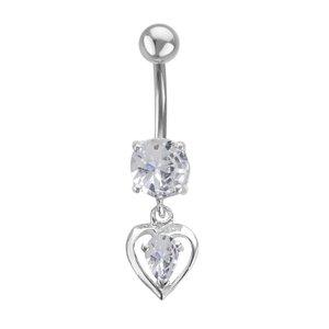 Bellypiercing Surgical Steel 316L Silver 925 zirconia Heart Love