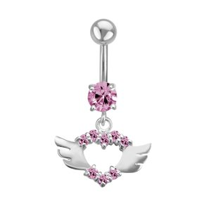 Bellypiercing Surgical Steel 316L Silver 925 zirconia Heart Love Wings