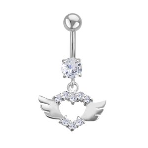 Bauchpiercing Chirurgenstahl 316L Silber 925 Zirkonia Herz Liebe Flügel