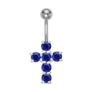 Bellypiercing Surgical Steel 316L Rhodium plated brass Crystal Cross