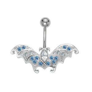 Bellypiercing Surgical Steel 316L Crystal Rhodium plated brass Bat