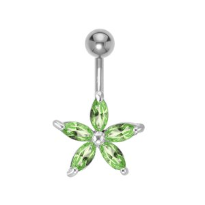 Bellypiercing Surgical Steel 316L Rhodium plated brass Crystal Star Flower