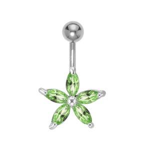Piercing de ombligo Acero quirúrgico Latón al rodio Cristal Estrella Flor