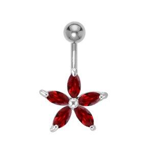 Piercing nombril Acier chirurgical 316L Laiton rhodié Cristal Étoile Fleur
