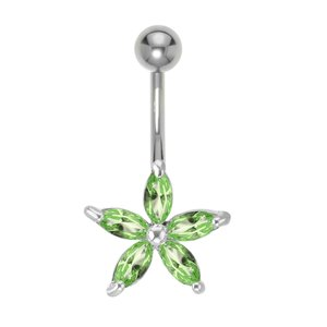 Bellypiercing Surgical Steel 316L Crystal Rhodium plated brass Star Flower