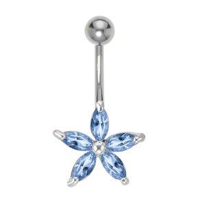 Piercing de ombligo Acero quirúrgico Cristal Latón al rodio Estrella Flor
