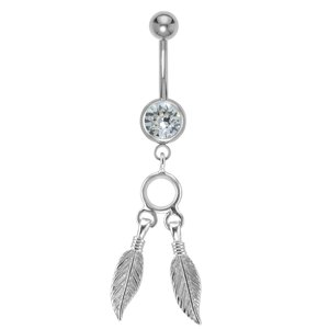Bellypiercing Surgical Steel 316L Rhodium plated brass Crystal Feather