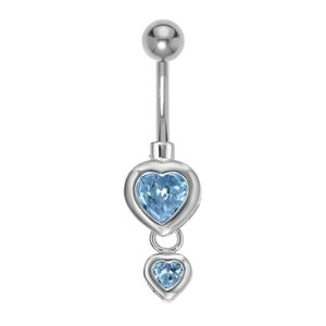 Bellypiercing Surgical Steel 316L zirconia Rhodium plated brass Heart Love