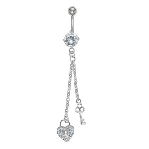 Bellypiercing Surgical Steel 316L Rhodium plated brass Crystal Lock Key Heart Love
