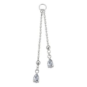 Belly piercing pendant Silver 925 Crystal Drop drop-shape waterdrop