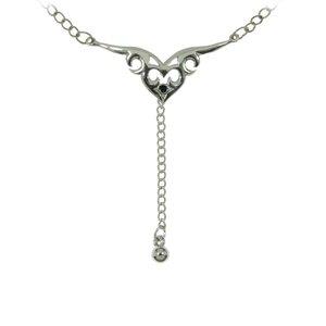 Cadena de vientre Latón con revestimiento de plata Cristal Dibujo_Tribal Diseño_Tribal Corazón Amor