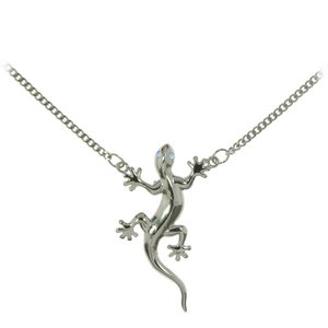Belly chain silver-plated brass Crystal Salamander Gecko Lizard