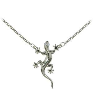 Bauchkette Messing mit Silberbeschichtung Kristall Salamander Gecko Gekko