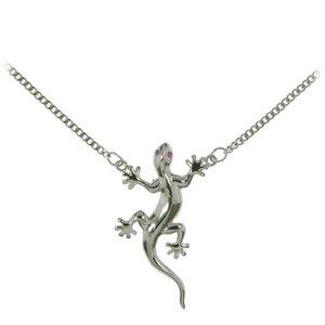 Catena ventre Ottone con rivestimento in argento Cristallo Salamandra Gecko Gekko