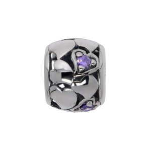Bead Silver 925 zirconia Heart Love