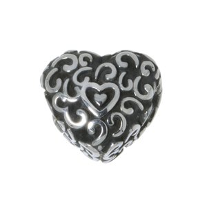 Bead Stainless Steel Heart Love Tribal_pattern Leaf Plant_pattern