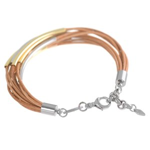 FOSSIL Bracelet Leather Stainless Steel PVD-coating (gold color)