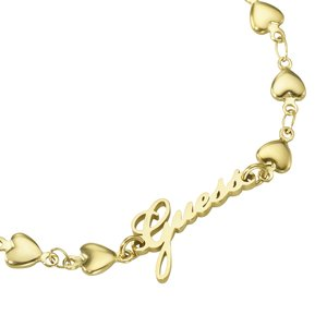GUESS Armband Edelstahl PVD Beschichtung (goldfarbig) Buchstabe Zahl Ziffer