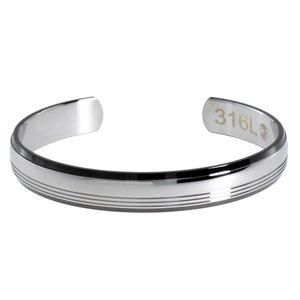 Armlet Stainless Steel Black PVD-coating Stripes Grooves Rills