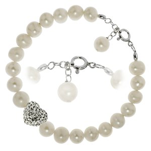 Bracelet Fresh water pearl Silver 925 Crystal Heart Love
