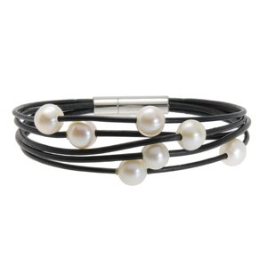 Bracelet Leather Fresh water pearl