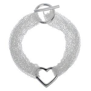Bracciale Ottone con rivestimento in argento Cuore Amore