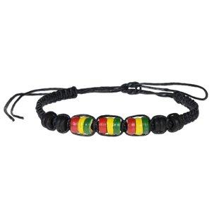 Bracelet de plage Lin ciré Bois de noix de coco Jamaica Reggae