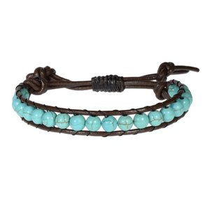Bracelet Leather Synthetic stone Cotton