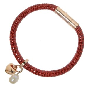 Bracelet Cuir Acier inoxydable Revêtement PVD (couleur or) Perles d´eau douce Coeur C?ur Amour Pelage Animal_Print Fourrure