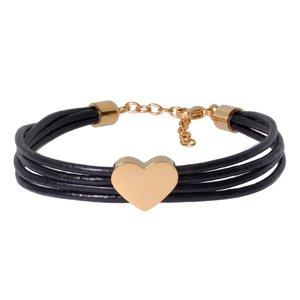 Bracelet Cuir Acier inoxydable Revêtement d´or (doré) Coeur C?ur Amour