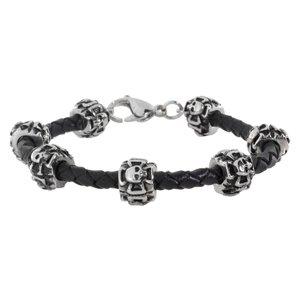 Bracelet Cuir Acier inoxydable Croix Crâne Caboche Os
