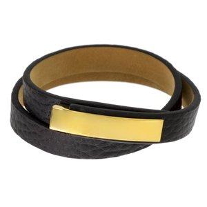 Bracelet Cuir Acier inoxydable Revêtement d´or (doré) Pelage Animal_Print Fourrure