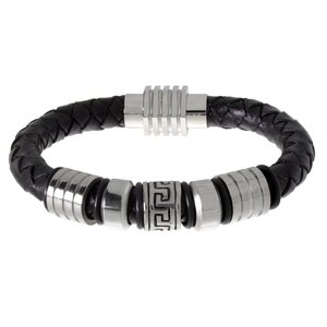 Bracelet Cuir Acier inoxydable PVC Bandes Rayures Zébrure