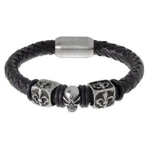 Bracelet Leather Stainless Steel PVC Skull Skeleton Flower