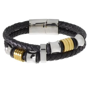 Bracelet Leather Stainless Steel Gold-plated PVC Stripes Grooves Rills