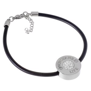 Bracelet Leather Stainless Steel Crystal
