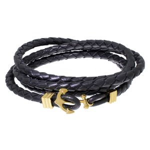 Bracelet Leather Stainless Steel PVD-coating (gold color) Anchor