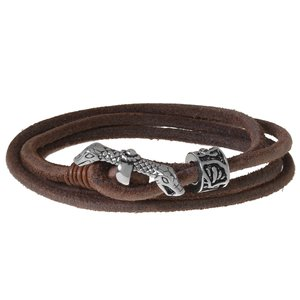 Bracelet Cuir Acier inoxydable Serpent