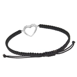 Beach bracelet Silver 925 Crystal nylon Heart Love