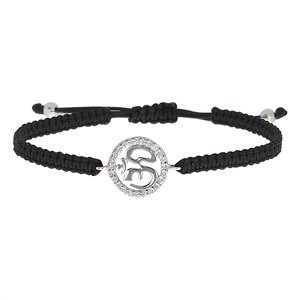 Beach bracelet Silver 925 Crystal nylon Om Aum God