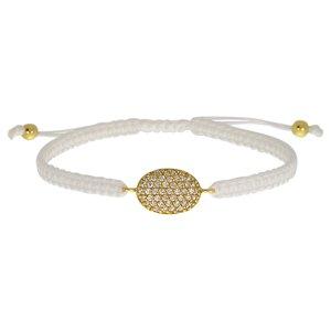 Geknüpftes Armband Silber 925 Kristall Nylon Gold-Beschichtung (vergoldet)