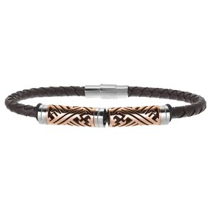 Bracelet Leather Stainless Steel PVD-coating (gold color) PVC Stripes Grooves Rills Tribal_pattern