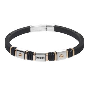 Bracelet Silicone Stainless Steel Crystal PVD-coating (gold color) PVC