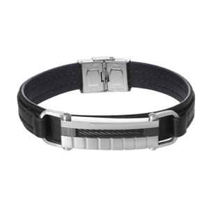 Bracelet Leather Stainless Steel Black PVD-coating Stripes Grooves Rills
