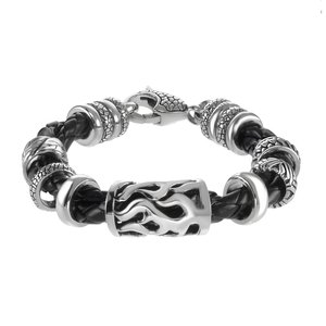 Bracelet Leather Stainless Steel Fur Fur_pattern Animal_Print Tribal_pattern